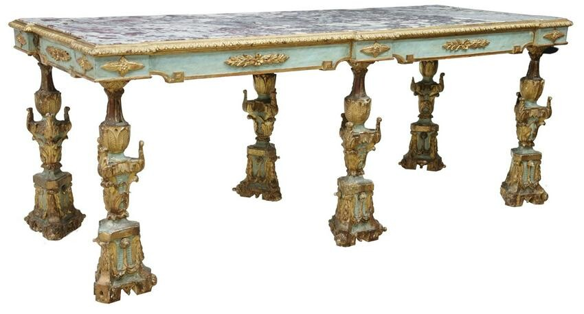 ITALIAN MARBLE-TOP PARCEL GILT & PAINTED TABLE