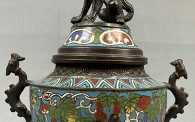 Incense burner with cloisonné on 3 feet.