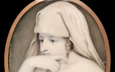 Kauffman (Angelica, 1741-1807, manner of). Portrait miniature of a young lady in classical dress