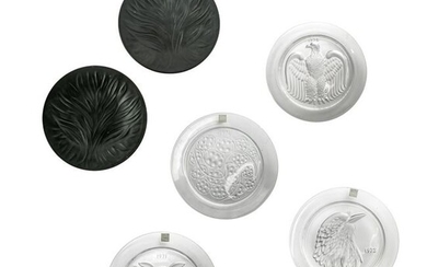 Lalique French Crystal Annual & Black Glass Plates