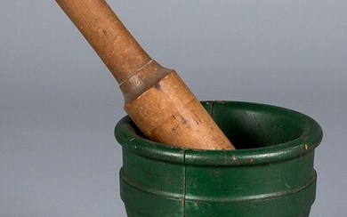 Large painted pine mortar and pestle, early 20th c
