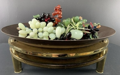 Lot Of Jade Grapes In Brass Centerpiece D I A