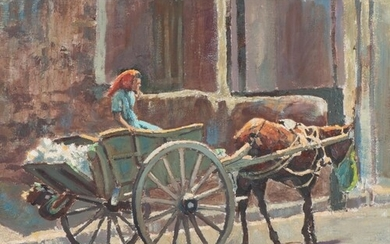 Marc Poisson (South Africa 1952 - ): WOMAN ON DONKEY CART