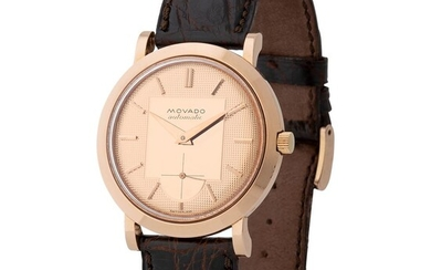 Movado. Nice and Beautiful Calatrava-Style Automatic Wristwatch in Pink Gold, Reference R8483, With Pink Guillochè Dial