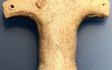 Neolithic Terracotta Very Abstractive and almost entire Figurine of the Great Goddess Mother with a Ritually broken Head