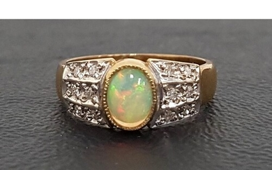 OPAL AND DIAMOND CLUSTER RING the central oval cabochon opal...