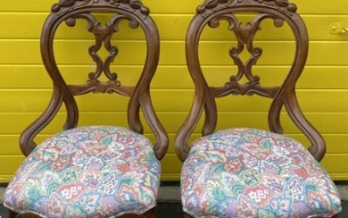 Pair Victorian Upholstered Parlor Side Chairs