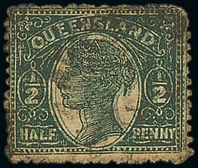 Queensland 1895-96 perf 12½, 13 ½d. dark green, printed double, a good used example with some...