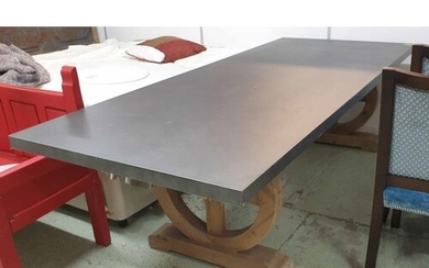 REFECTORY TABLE, French Provincial style, with zinc top on c...
