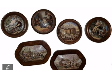 Six 19th Century framed Staffordshire pot lids comprising A ...