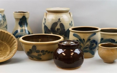 TEN PIECES OF SALT-GLAZED POTTERY: A MOLD, A BOWL, SEVEN PIECES OF WISCONSIN POTTERY AND A BROWN HANDLED JAR WITH LID
