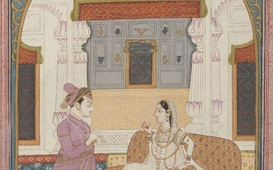 The Heroine Annoyed with her Faithless Lover, a folio from a Rakisapriya Series, Kangra, circa 1830-50, after a painting from the Kangra Rakisapriya series of 1820-30, opaque pigments heightened with gold, in an oval cartouche framed with decorated...
