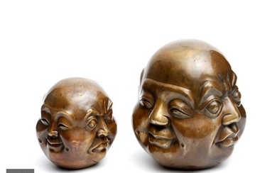Two Chinese/Tibetan bronze cast 'Four faces of Buddha' lucky...