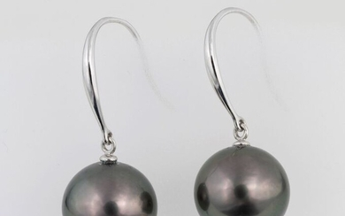 United Pearl - 10x11 mm Round Peacock Black Tahitian Pearls - 14 kt. White gold - Earrings