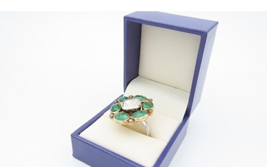 Unusual Vintage Diamond and Emerald Ladies Cluster Ring Size...