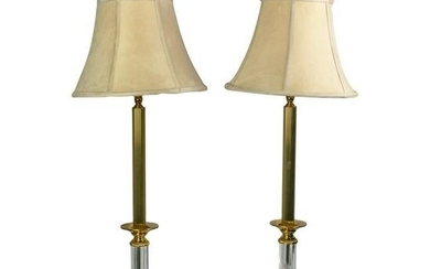 Waterford Irish Crystal & Brass Signed Table Lamps