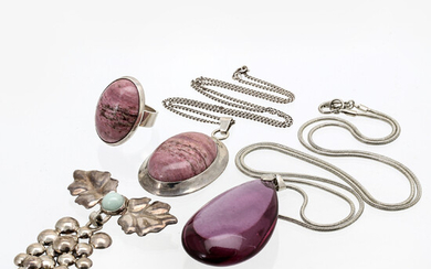 2 pendants with chains, 1 brooch, 1 ring, silver, rodochrosite, aventurine, metall, lilac drop probably glass, 4 pieces