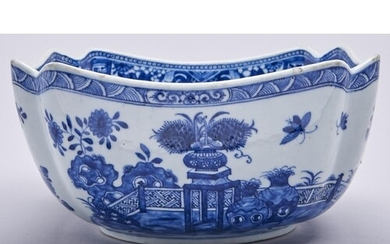 A Chinese export blue and white salad bowl, 19th c, painted ...