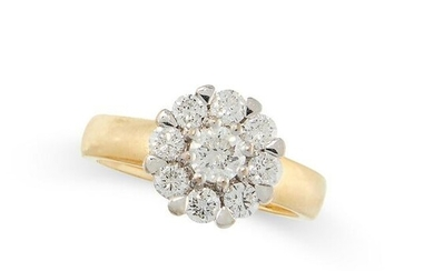 A DIAMOND CLUSTER RING in 18ct yellow gold and white