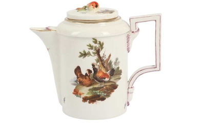 A FRANKENTHAL PORCELAIN COFFEE POT AND COVER, 18TH CENTURY