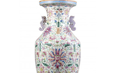 A Famille Rose porcelain vase, with handles and floral decoration China, Qing dynasty, Daoguang period (1821-1850) (h. 43 cm.)Read more