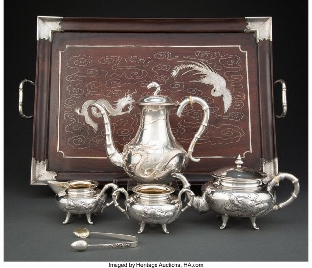 A Five-Piece Chinese Export Silver Tea Set with