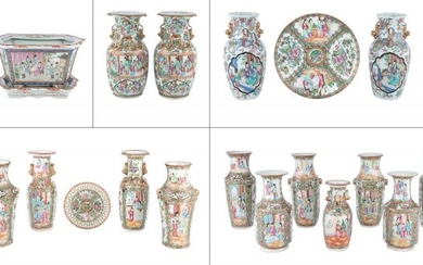 A Group of Chinese Rose Mandarin and Rose Medallion Porcelain Articles