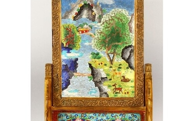 A LARGE HEAVY CHINESE CLOISONNE ENAMEL TABLE SCREEN in a bra...