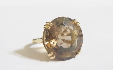 A Large 9ct Gold and Smoky Quartz Dress Ring, 29mm diam., si...