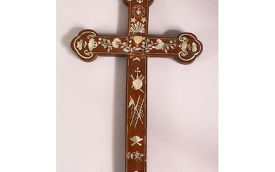 A MOTHER OF PEARL INLAID CRUCIFIX, 37cm x 20cm.