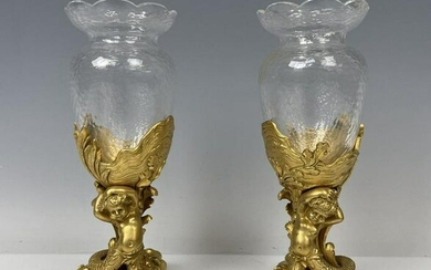 A PAIR OF DORE BRONZE & BACCARAT CRYSTAL VASES