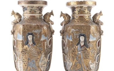 A PAIR OF JAPANESE POLYCHROME AND GOLD ENAMELED CERAMIC VASES LATE 19TH CENTURY.