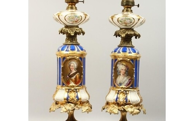 A SUPERB PAIR OF 19TH CENTURY FRENCH PORCELAIN AND GILT BRO...