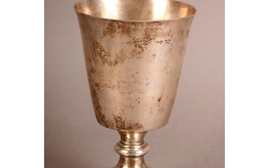 A VICTORIAN SILVER PEDESTAL GOBLET with bucket shaped bowl, ...