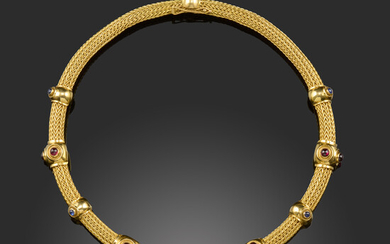 A gem-set gold collar necklace by Lalaounis