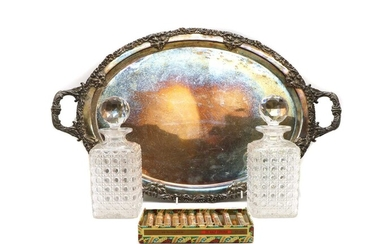 A large silver plated twin handle serving tray