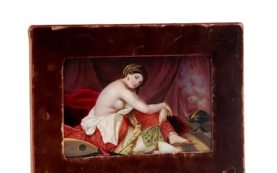 A late 19th Century hand painted KPM type porcelain plaque w...