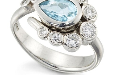 A platinum aquamarine and diamond cluster ring, the central collet-set pear-shaped aquamarine with graduated collet-set brilliant-cut diamond hook shaped surround, ring size N