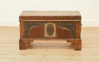 A small painted wooden chest