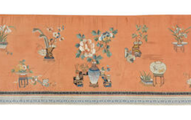 AN APRICOT-GROUND SILK-EMBROIDERED 'HUNDRED ANTIQUES' TEXTILE