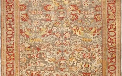 ANTIQUE LARGE PERSIAN GREY ALLOVER SULTANABAD CARPET. 19 ft x 13 ft 6 in (5.79 m x 4.11 m).