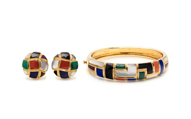 ASCH GROSSBARDT, COLLECTION OF YELLOW GOLD AND HARDSTONE INLAY JEWELRY