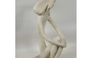 """An abstract pottery figure of a seated lady, 11"""" high"""