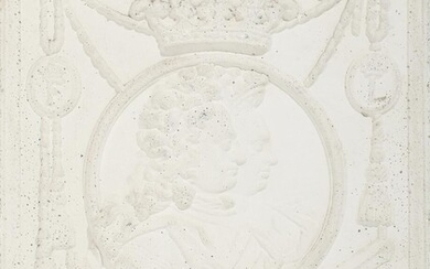 NOT SOLD. An artificial stone relief depicting King Frederik IV and Queen Louise. Cast after an own plate from Fritzøe Jernværk, Larvik. H. 70. W. 52 cm. – Bruun Rasmussen Auctioneers of Fine Art