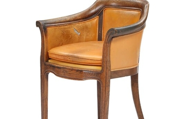 An early 19th century oak armchair, upholstered with patinated leather. – Bruun Rasmussen Auctioneers of Fine Art