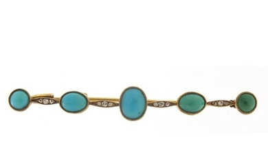 Antique unmarked gold cabochon turquoise and diamond bar bro...