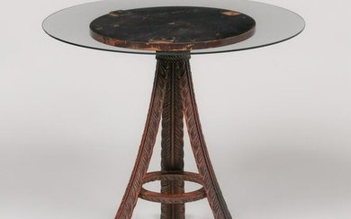 Art Nouveau Hand-Carved Glass-Top Three Leg Table