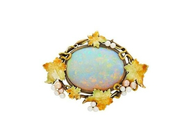 Arts and Crafts Gold, Opal, Enamel and Seed Pearl