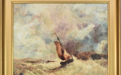 British School (early 20th Century) Sailboat in Rough Waters