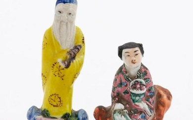 CHINESE TWO MINIATURE PORCELAIN IMMORTAL FIGURES
